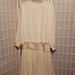 A J BARI EVENING GOLD TWINE & BEADED GOWN Sz 16